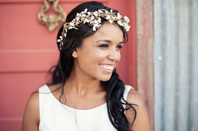 bride in head wreath