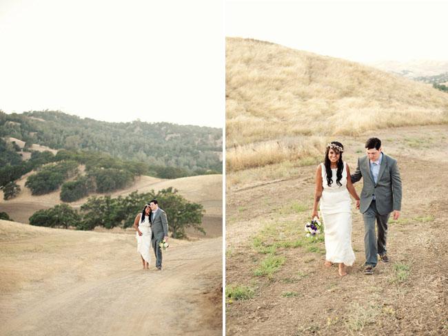 bride and groom hillside