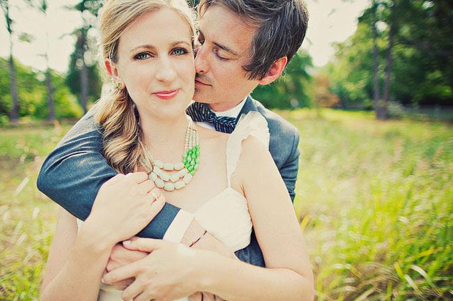 bride wearing necklace