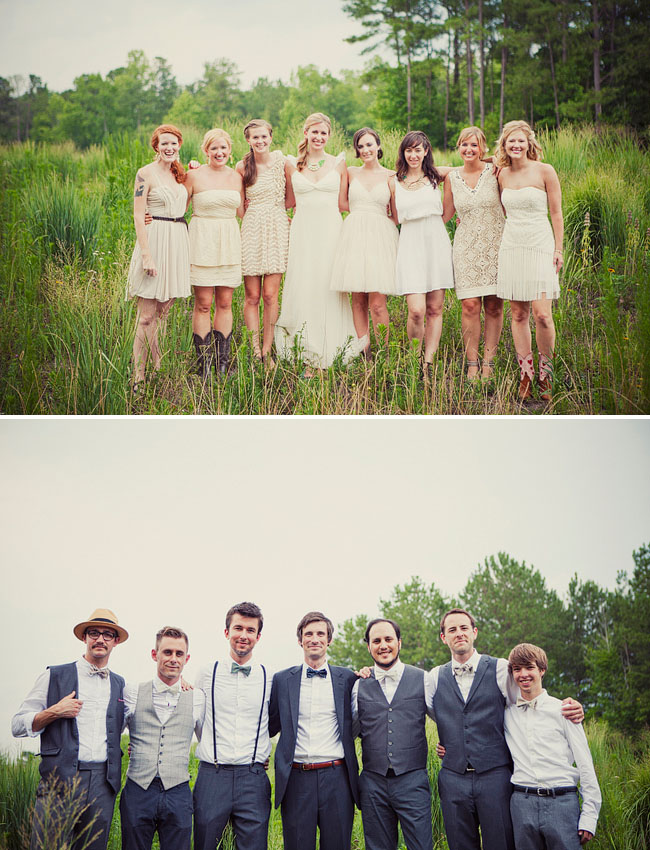 wedding party in field