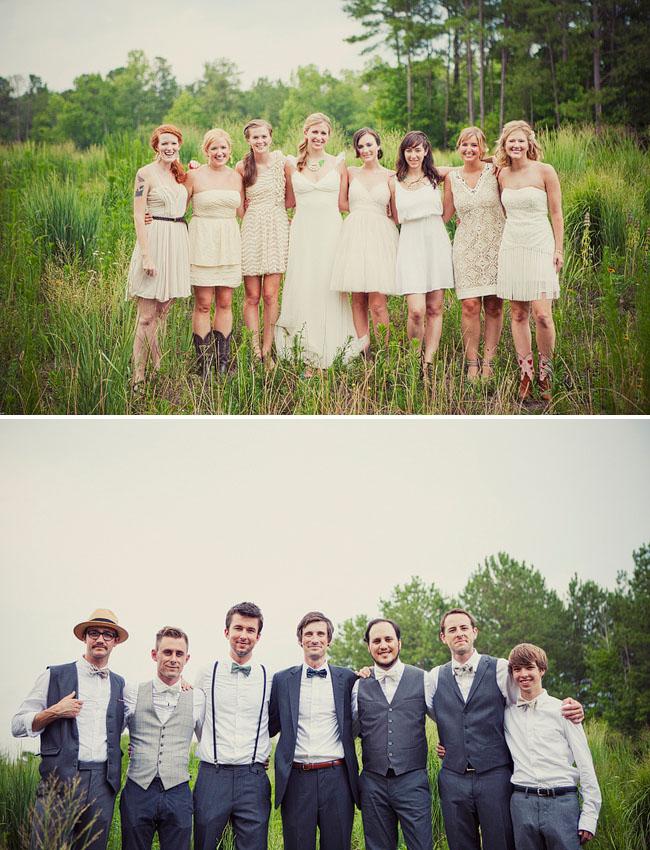 wedding party in field