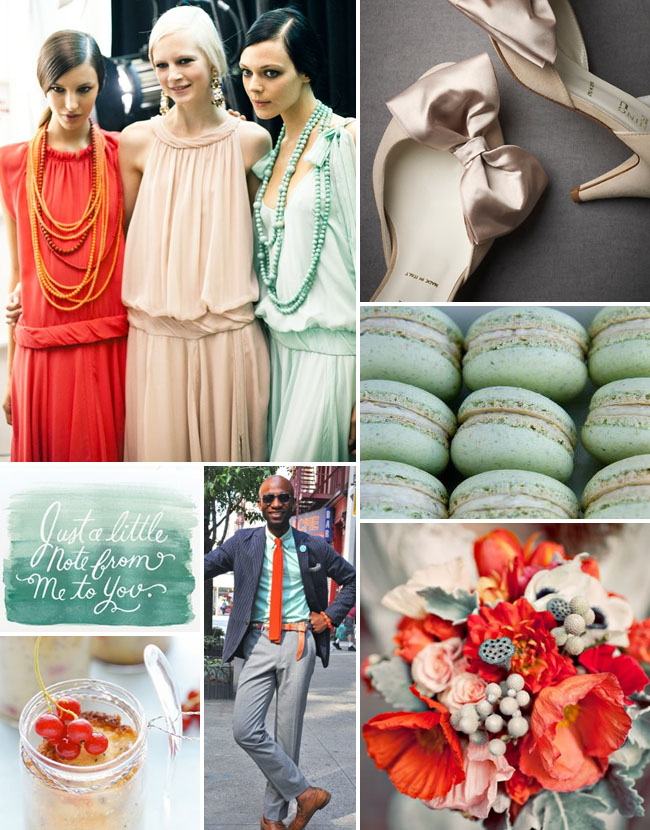 Inspiration Board #39: Mint Green, Blush + Poppy Red - Green Wedding ...