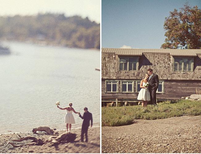 bride and groom lake