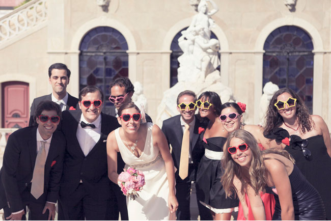 bridal party in sunglasses