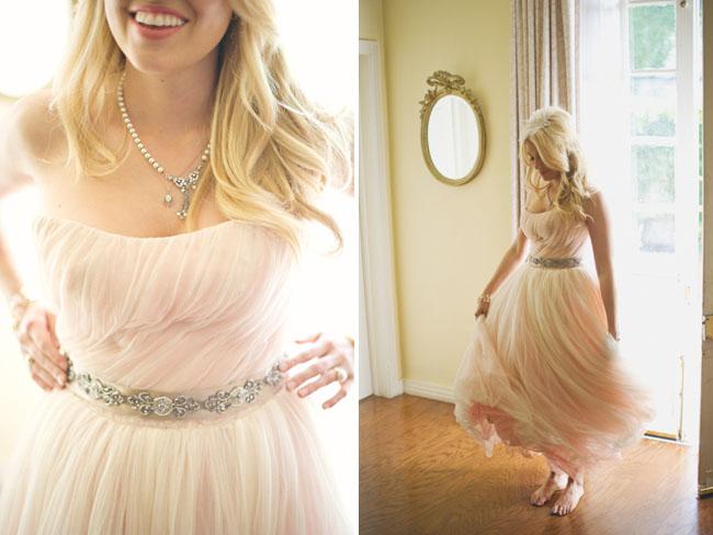 pink chiffon bridal gown
