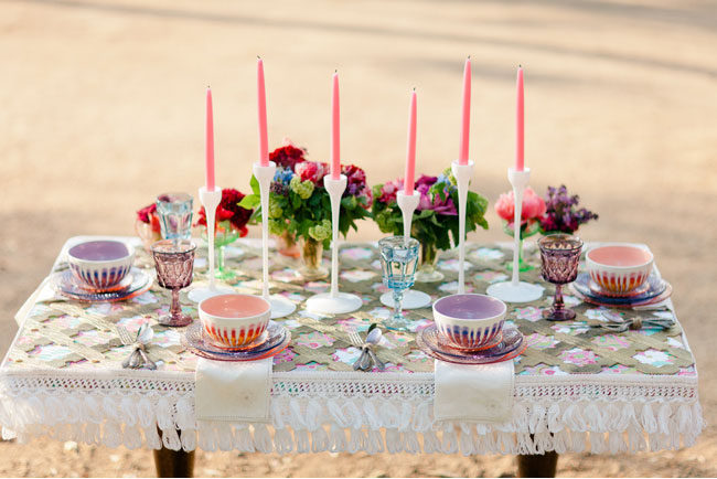 tall pink candles for table