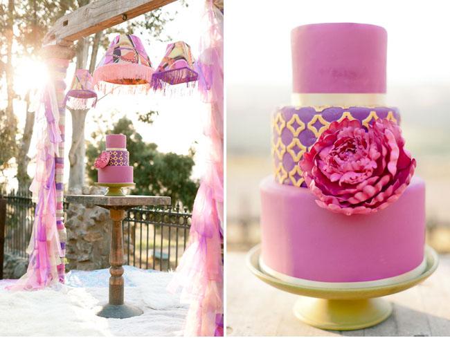 hot pink peony cake