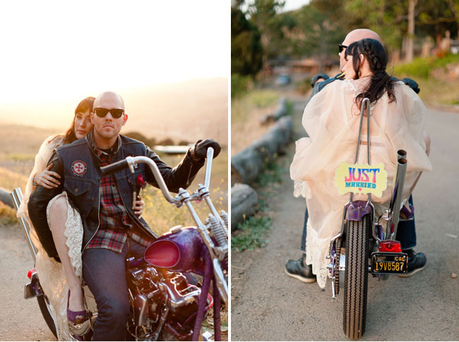 bride and groom on harley
