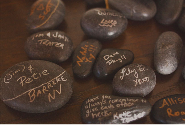 guest book on rocks