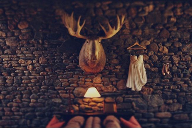 wedding dress in lodge