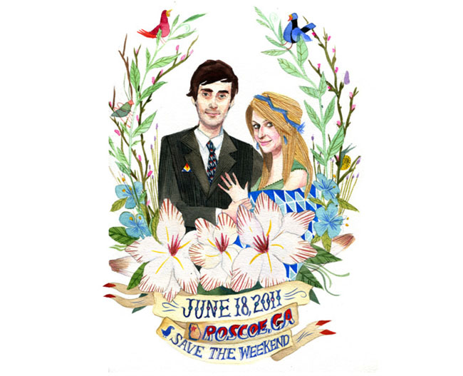 wedding illustration save the date stacey rozich