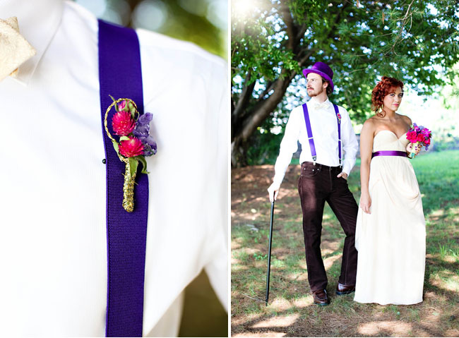 purple groom suspenders