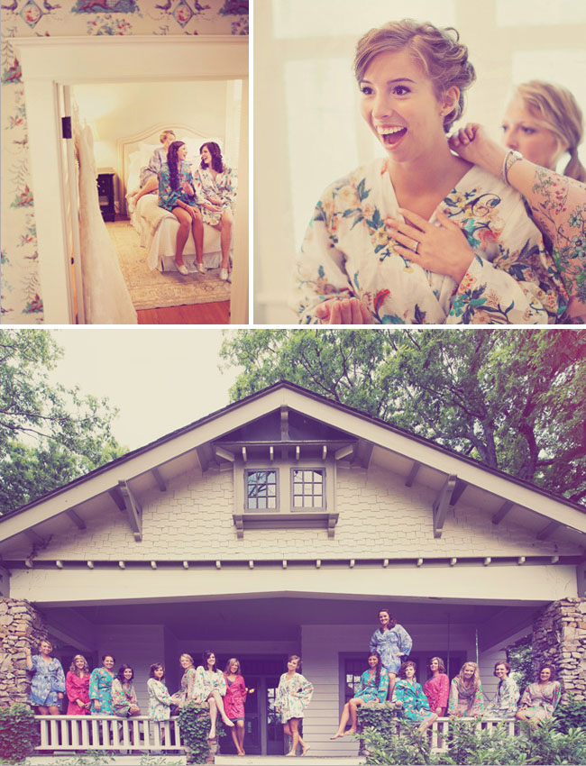 bridesmaids in floral wrap robes