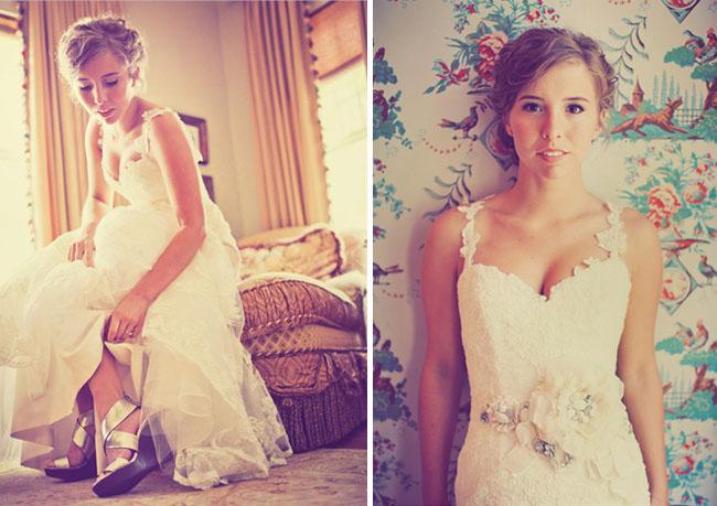 bride in silver heels