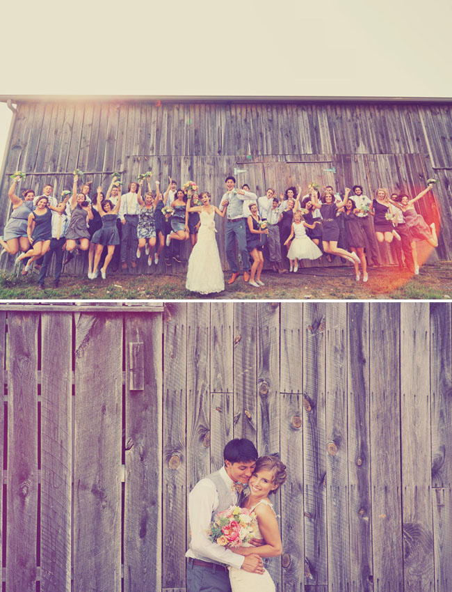 jump bridal party shot