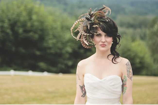 bridal feather hairpiece