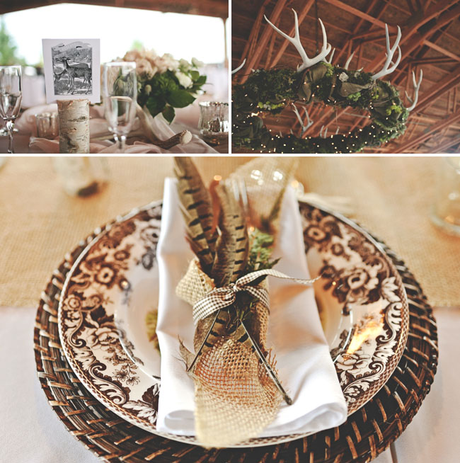 feather plate setting, wood elements