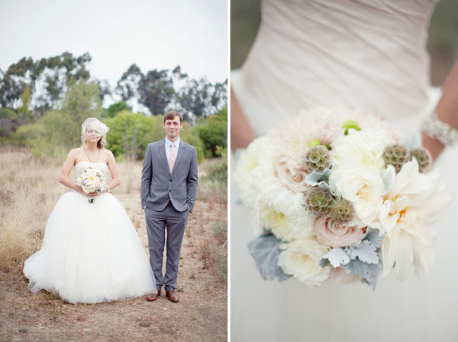bride and groom and pastel bouquet