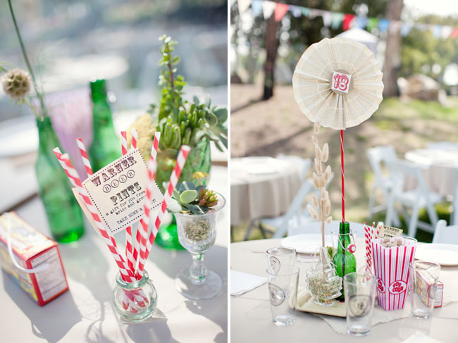 red striped straws and paper fan centerpiece