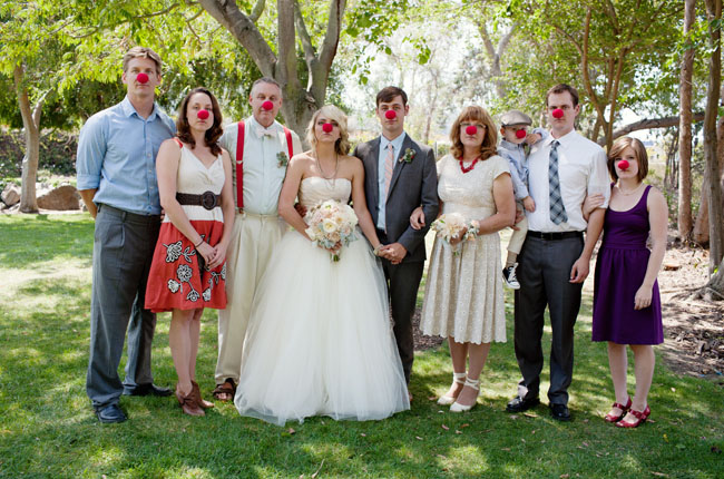 clown nose family photo