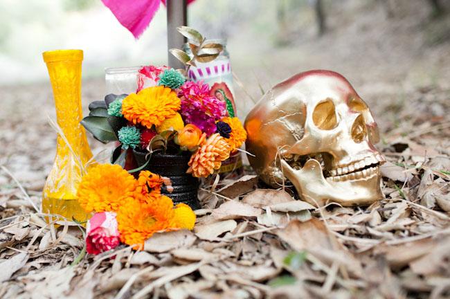 dia de los muertos, gold skull