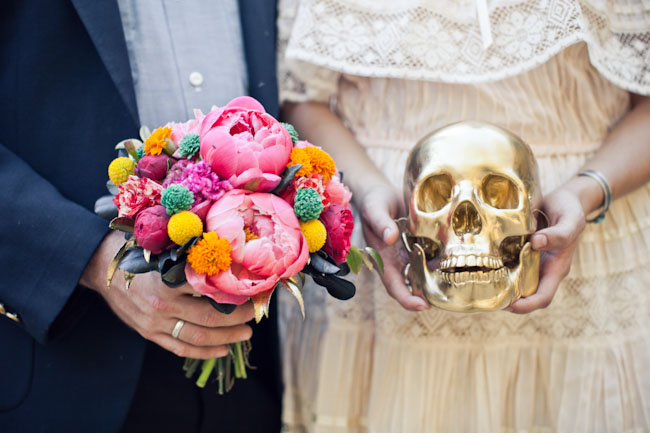dia de los muertos peony bouquet and gold skull