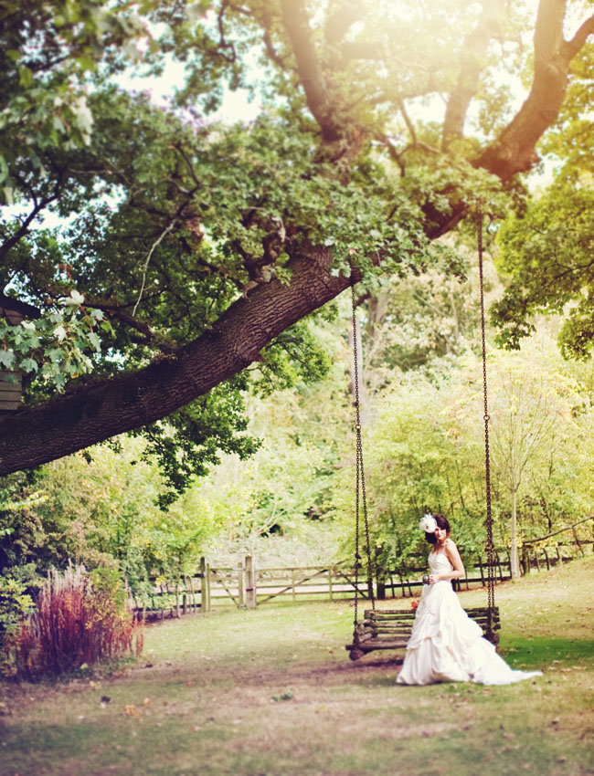 bride and swing