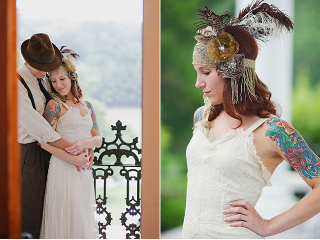 bride and feather hairpiece