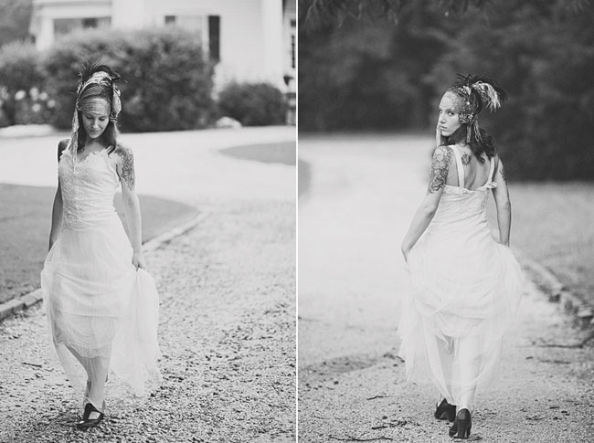 bride with feather hairpiece
