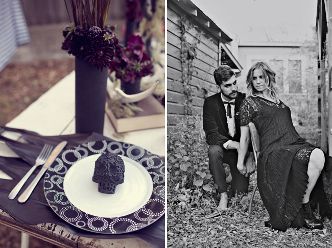 halloween wedding inspiration, skull plate decor