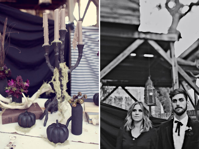 halloween wedding inspiration, black pumpkins