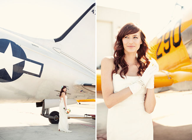 bride with gloves airplane