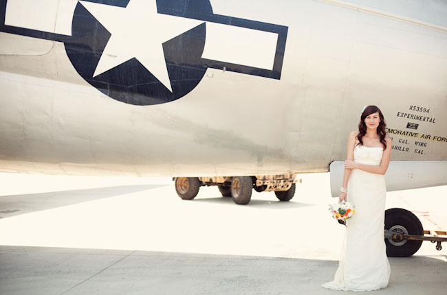 bride with airplane