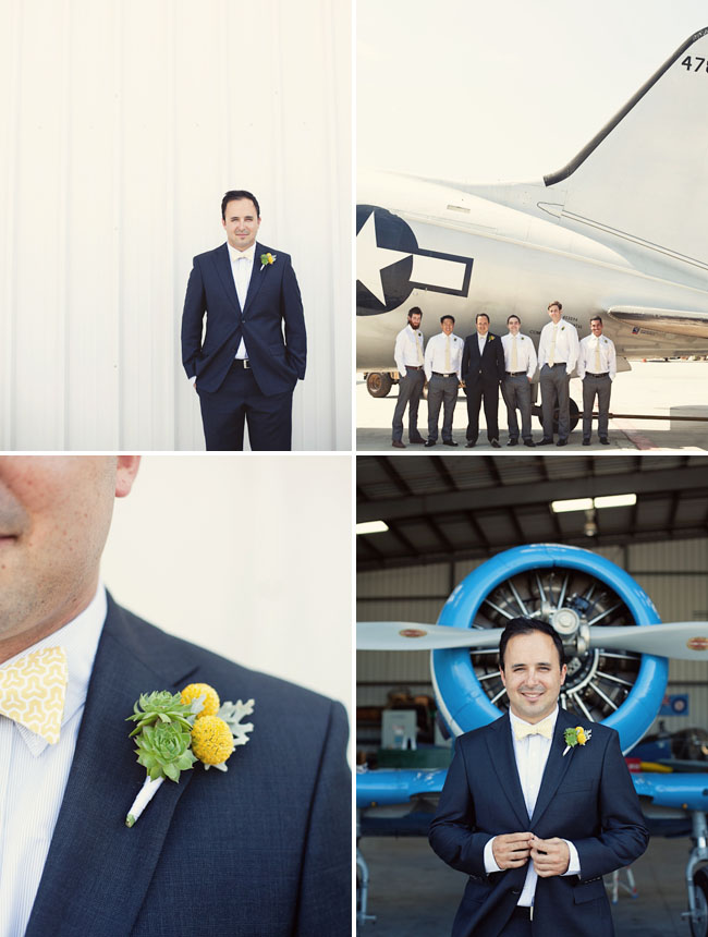 groom with airplane