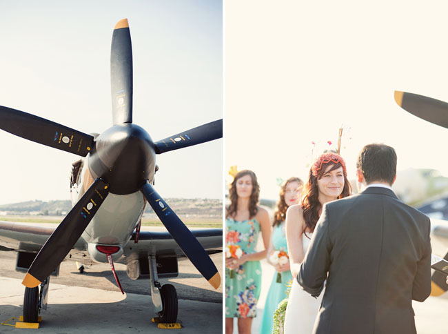 wedding ceremony with airplanes
