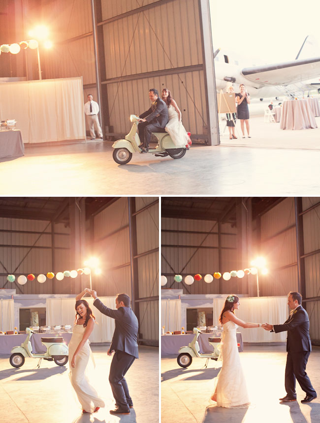 wedding entry on a scooter