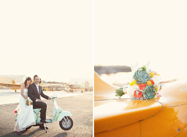 bride and groom on scooter succulent bouquet
