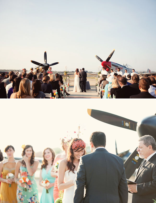 bride and groom married around planes