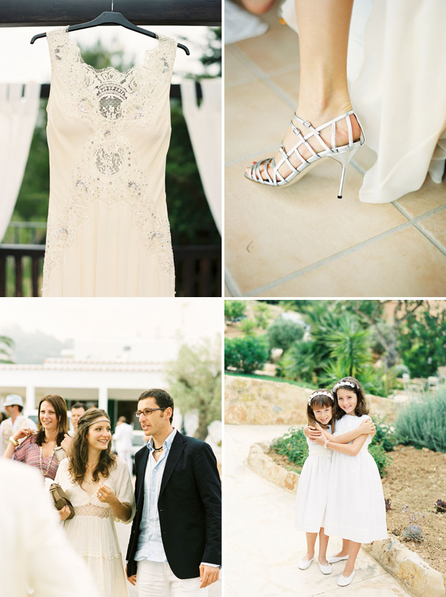 ibiza wedding, wedding dress, silver heels