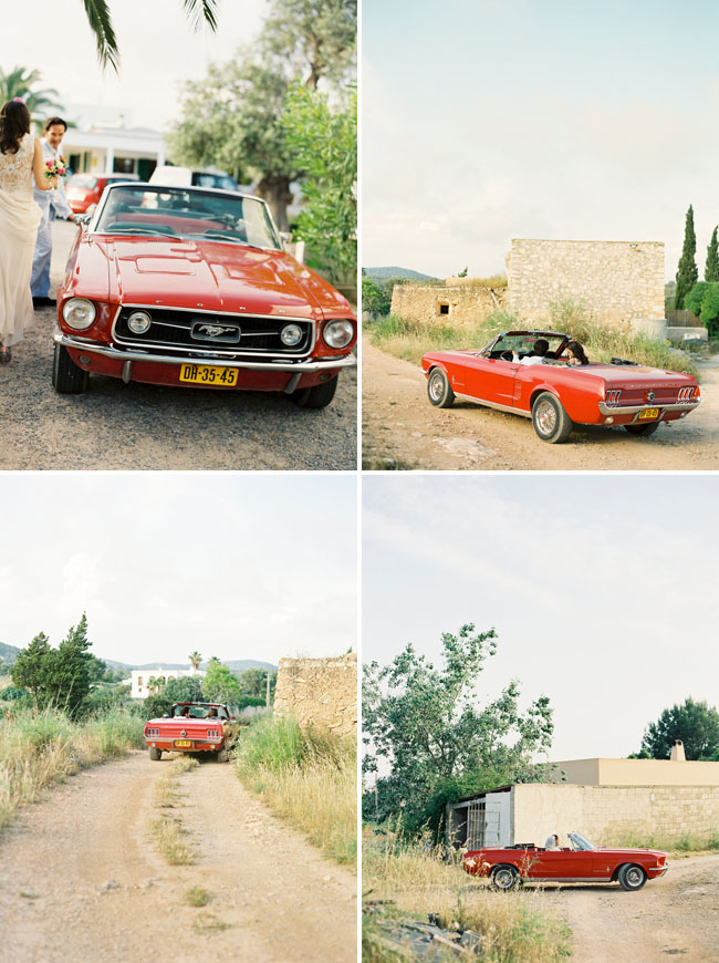 ibiza wedding, red getaway car