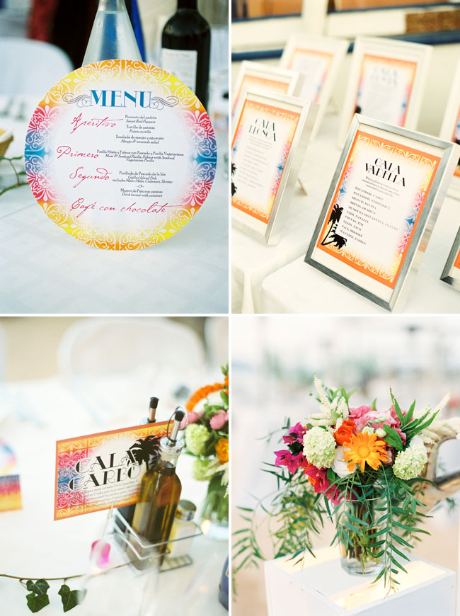 colorful wedding menu, centerpieces
