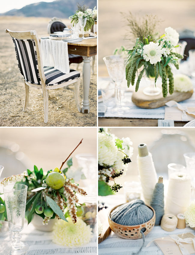 rustic yarn table decor