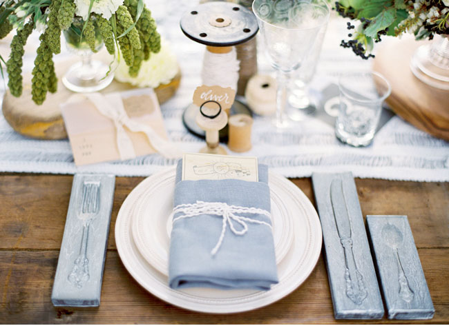 silverware molds, blue tablescape
