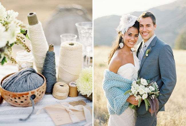 bride in blue knitted shawl