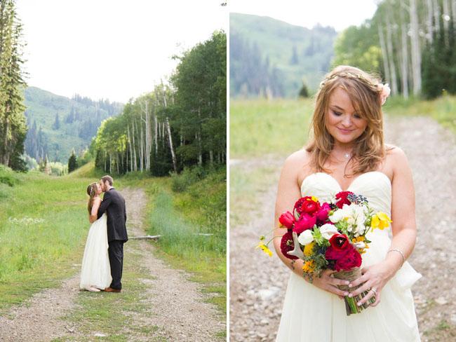 bride with bright bouquet