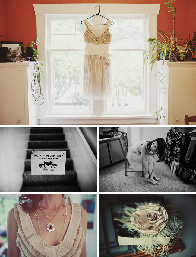 bride getting ready, dress in window, ruffle dress
