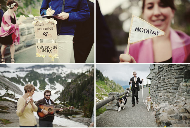 hooray flags, mountain top wedding
