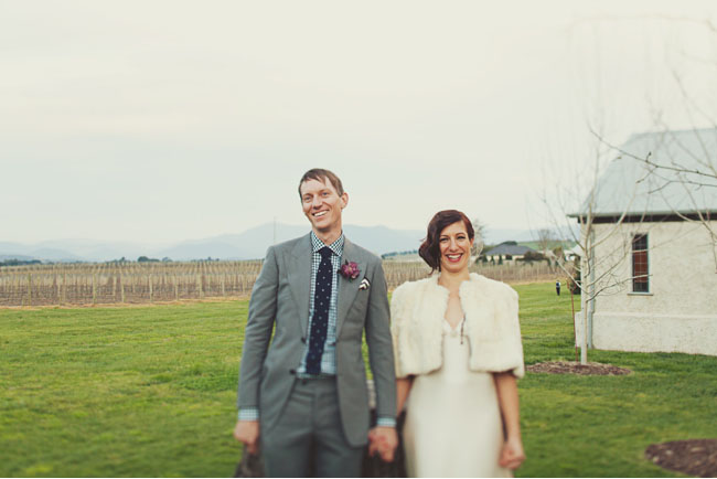 bride in fur bolero