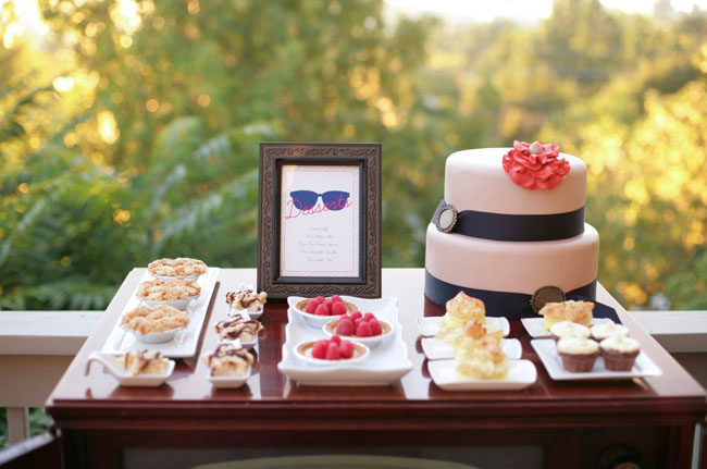 retro wedding shower, dessert bar