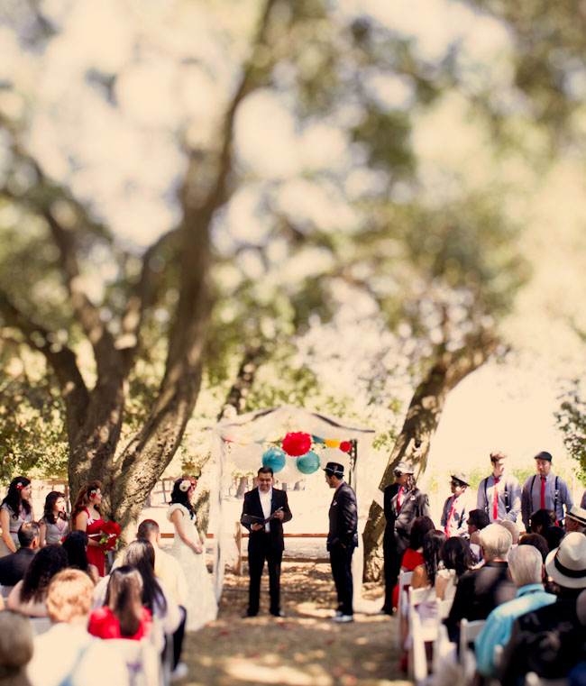 brightly colored wedding ceremony